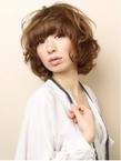 厚め前髪×ふわパーマ
