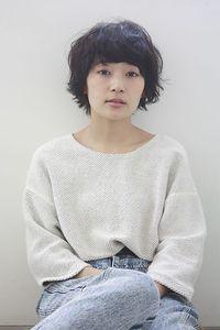 【ecouter】黒髪×クセ毛風重めバング×マッシュショート.