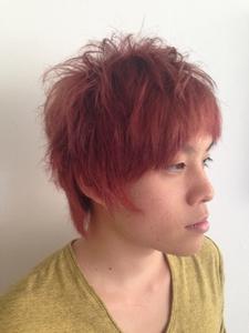 ピンクオレンジ@ニュアンスパーマのマッシュボブ felicita 緑地公園店のヘアスタイル