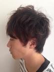 ニュアンスパーマ@黒髪無造作ルーズマッシュ