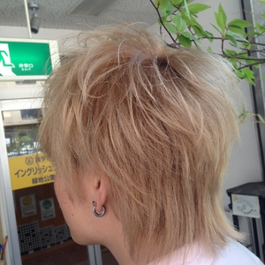 個性的な外国人風シルバーアッシュのネオウルフ felicita 緑地公園店のヘアスタイル