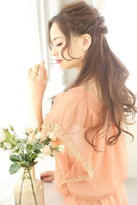 ★sCene★ ルーズ編みハーフアップ