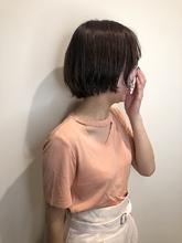 透け感マロンブラウンショート|MASHU NU茶屋町店のヘアスタイル
