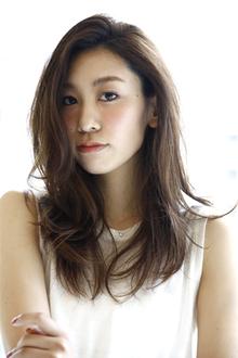 前髪をかきあげたスタイルとランダムなラフな動きのカールでゆるいナチュラルな雰囲気を出したヘアです。|laluna alex 阪急六甲店のヘアスタイル