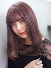 コーラルピンクカラー_ストレートセミロング|CREER 塚口店 田端 美香のヘアスタイル