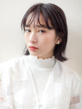 黒髪の切りっぱなし外ハネボブ☆無造作なフェザーバング|CREER 塚口店のヘアスタイル