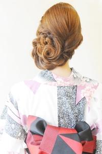 浴衣☆お花アップ☆浴衣着付+ヘアセット¥4900〜★