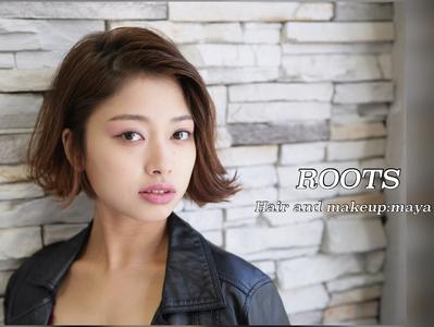 毛先のハネ感でクールにお洒落。|ROOTSのヘアスタイル