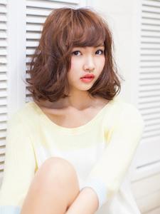 ミディアムボブのくせ毛風ふんわりパーマ☆彡|Sand NATURAL&BEAUTYのヘアスタイル