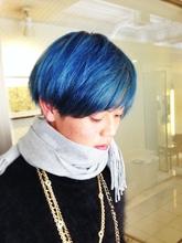 【アメ村 b:Ash】個性的ブルーマッシュ☆|hair b:Ashのメンズヘアスタイル