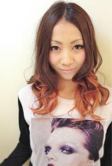 オレンジベージュの柔らかグラデーション↑↑|hair b:Ashのヘアスタイル