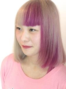 【アメ村 b:Ash】ビビットピンク☆ツートーン|hair b:Ashのヘアスタイル