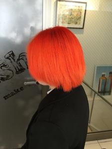 【アメ村 b:Ash】外国人風ビビッドオレンジです|hair b:Ashのヘアスタイル