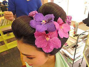 日本髪に洋花|First Stage KT air店のヘアスタイル