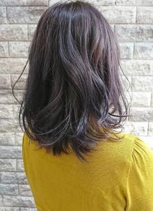 パープルグレージュ・ふんわり・ミディ|Hip's deco 大宮店のヘアスタイル