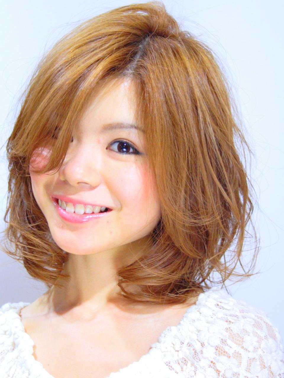 ハイトーンのサンフラワーオレンジ☆シースルーボブ