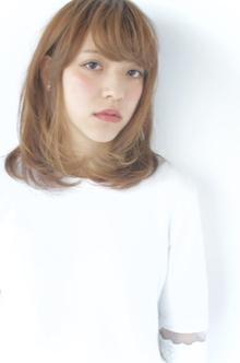 小顔流しバング☆ナチュラルミディスタイル|The C by afloatのヘアスタイル