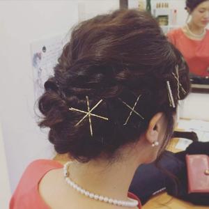 前髪編み込み×ゴールドピンアレンジ|ethicalのヘアスタイル