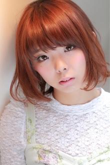 [RENATA]チェリーピンク☆大人かわいい厚めバングで小顔ボブ TAKE CARE OR RENATAのヘアスタイル