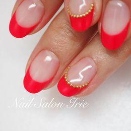 赤フレンチにボールチェーンライン|Nail Salon Irieのネイル