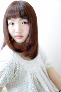 ストレート/ピンク/ざっくりバング