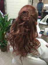 ピンキーアッシュのハーフアップ☆|GROSS 心斎橋 山上 絋司のヘアスタイル