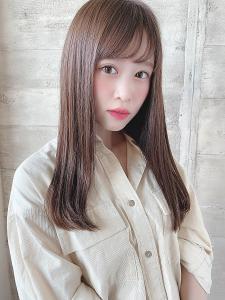 大人かわいい美髪小顔バングフェミニンロング|THOiRY 栄のヘアスタイル