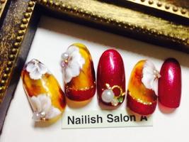 2016秋ネイル/べっこうフラワー|Nailish Salon Aのネイル