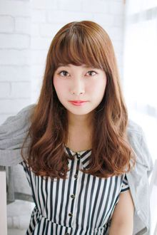 好感度◎ 重め前髪 とろみミックスカール 錦糸町 美容院 Agateのヘアスタイル
