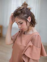 外国人風ラフハーフアップ|LuLu 池袋  柳井 里美のヘアスタイル