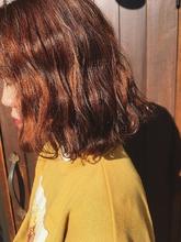 ボブ オレンジカラー ブリーチなし|healing salon Casaのヘアスタイル