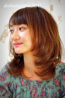 明るめカラーとフェイスラインがアクセントの大人可愛いミディアムhair|daikanyama SOUのヘアスタイル