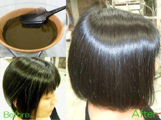 天然100%のヘナ&ハーブカラーは白髪をキレイに染め、トリートメント効果でツヤ髪を作ります